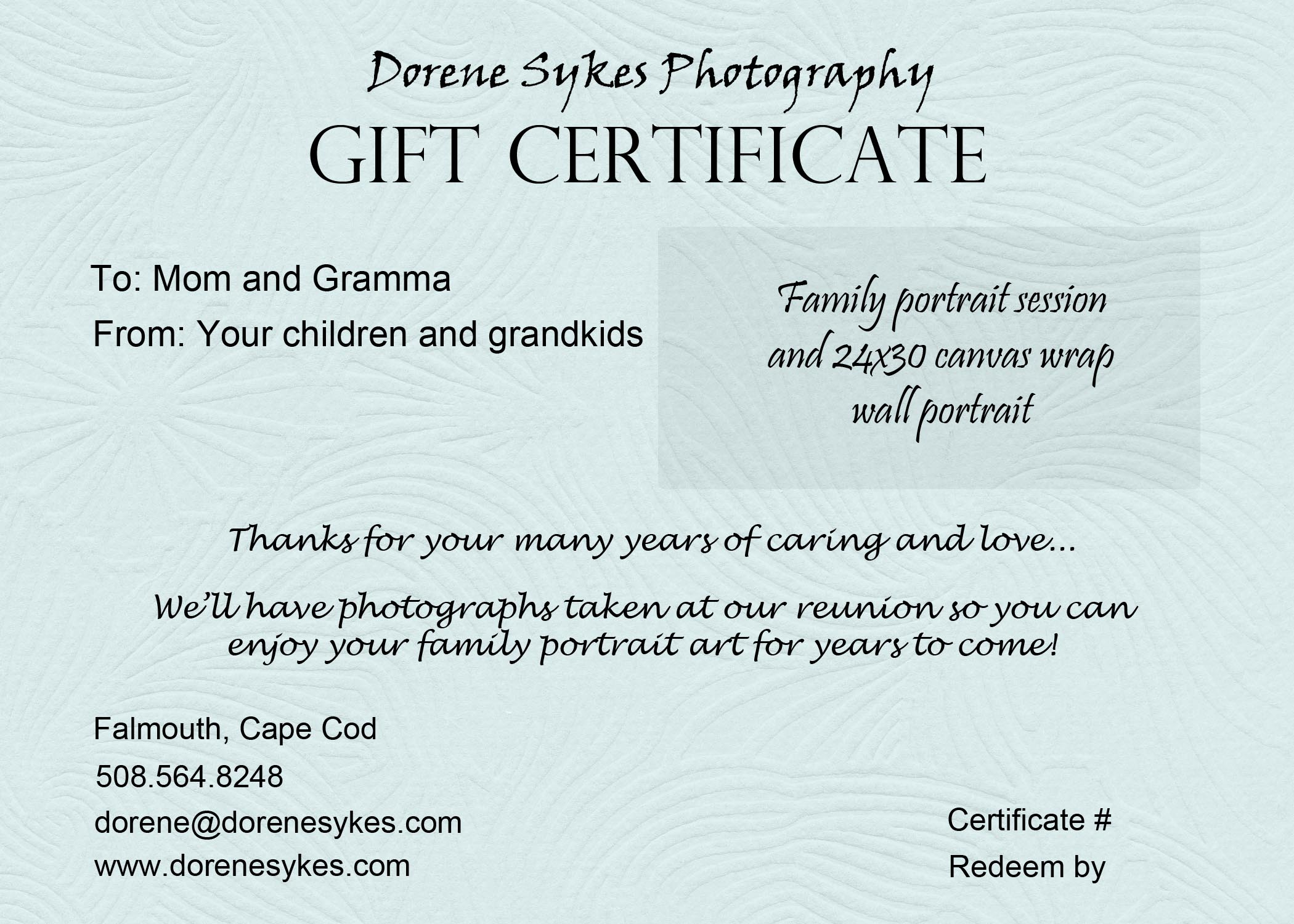 gift certificate sample dorene sykes photography blog gift certificate sample gift certificate sample