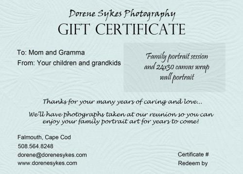 gift certificate sample dorene sykes photography blog